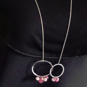 """SILVERTONE CHAIN OPEN CIRCLE PINK 33 1/2"""" NECKLACE"""
